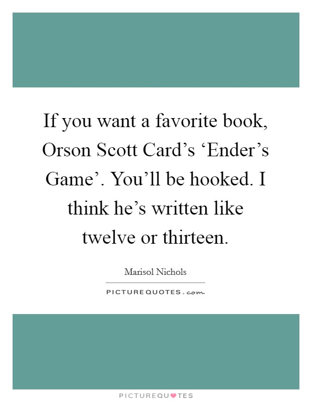 an analysis of children in enders game by orson scott Orson scott card is the author of the international bestsellers shadow of the giant ender's game, as well as the blood of the children.