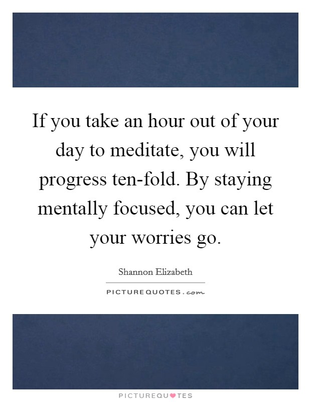 If you take an hour out of your day to meditate, you will progress ten-fold. By staying mentally focused, you can let your worries go Picture Quote #1