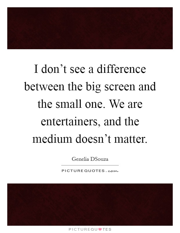 I don't see a difference between the big screen and the small one. We are entertainers, and the medium doesn't matter Picture Quote #1