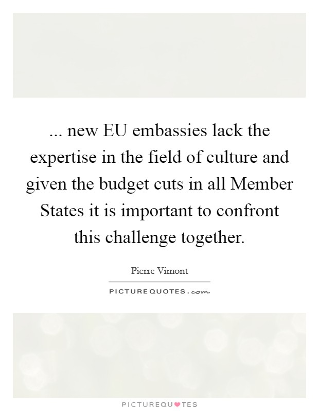 ... new EU embassies lack the expertise in the field of culture and given the budget cuts in all Member States it is important to confront this challenge together Picture Quote #1
