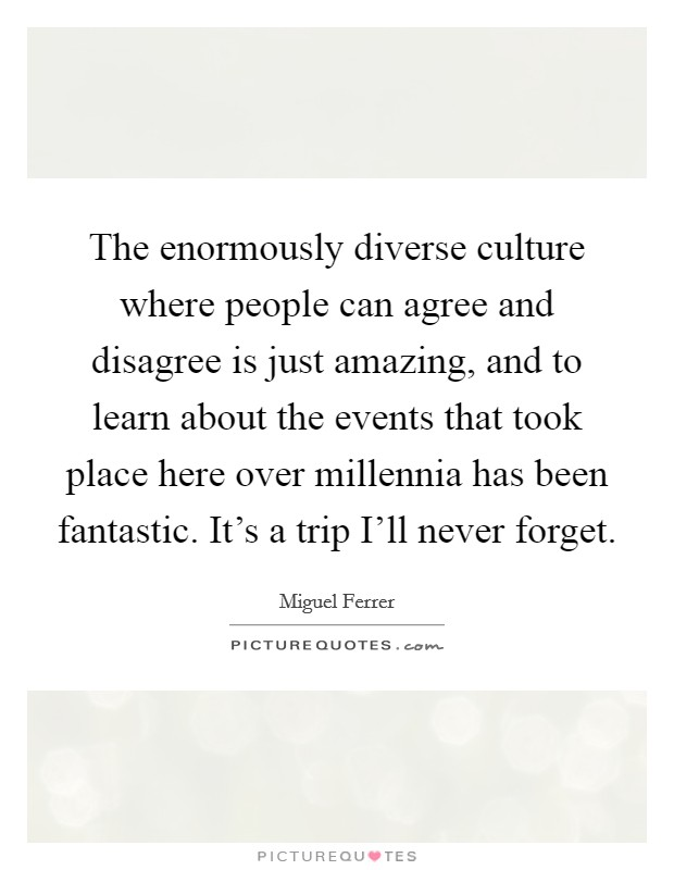 The enormously diverse culture where people can agree and disagree is just amazing, and to learn about the events that took place here over millennia has been fantastic. It's a trip I'll never forget Picture Quote #1