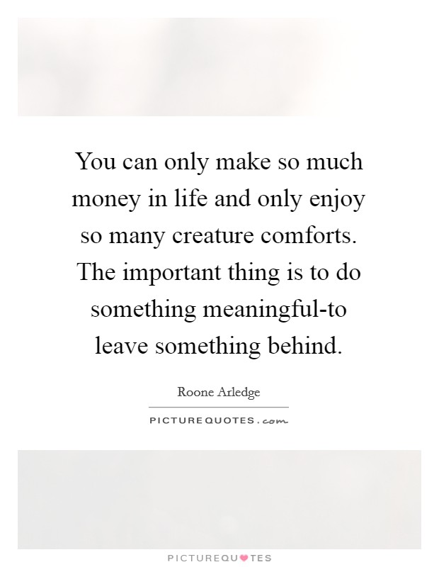 You can only make so much money in life and only enjoy so many creature comforts. The important thing is to do something meaningful-to leave something behind Picture Quote #1