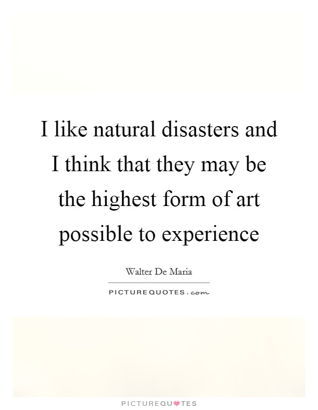 I like natural disasters and I think that they may be the highest form of art possible to experience Picture Quote #1