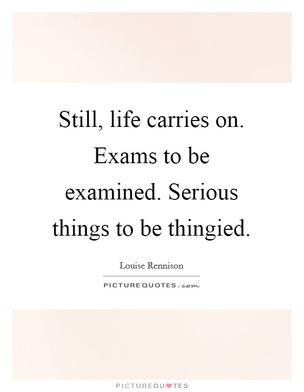 Still, life carries on. Exams to be examined. Serious things to be thingied Picture Quote #1
