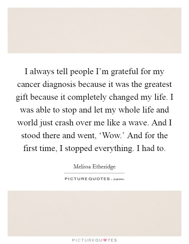 I always tell people I'm grateful for my cancer diagnosis because it was the greatest gift because it completely changed my life. I was able to stop and let my whole life and world just crash over me like a wave. And I stood there and went, 'Wow.' And for the first time, I stopped everything. I had to Picture Quote #1