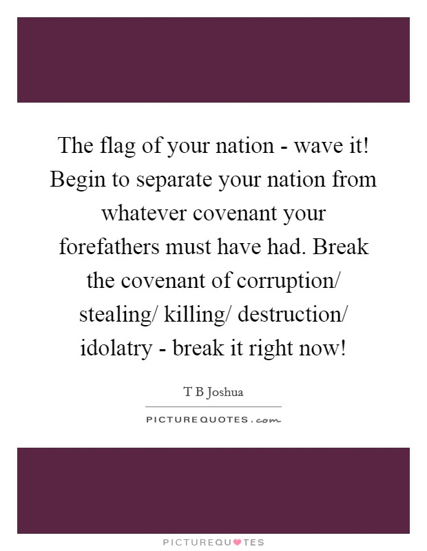 The flag of your nation - wave it! Begin to separate your nation from whatever covenant your forefathers must have had. Break the covenant of corruption/ stealing/ killing/ destruction/ idolatry - break it right now! Picture Quote #1