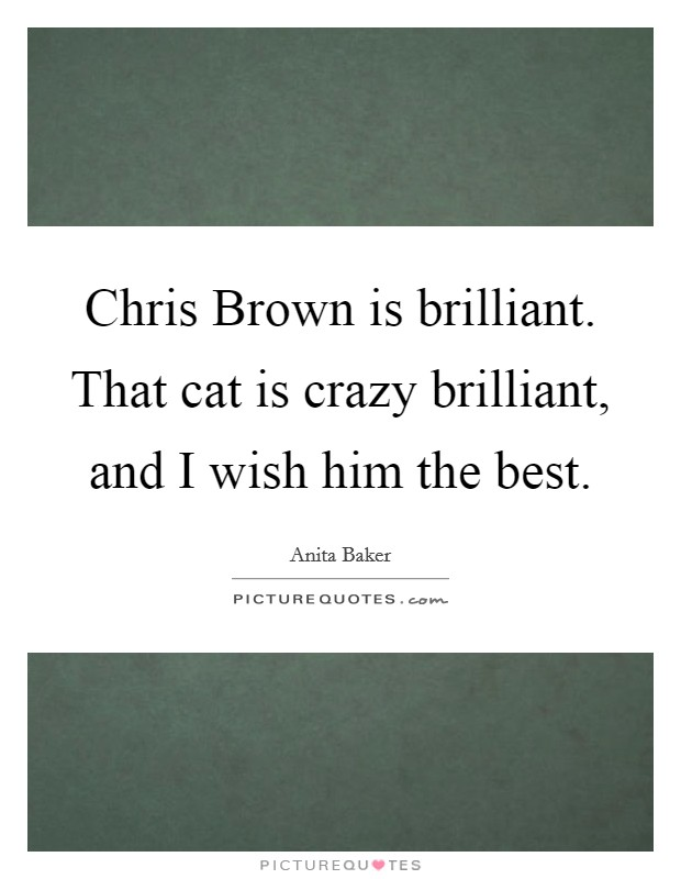 Chris Brown is brilliant. That cat is crazy brilliant, and I wish him the best Picture Quote #1