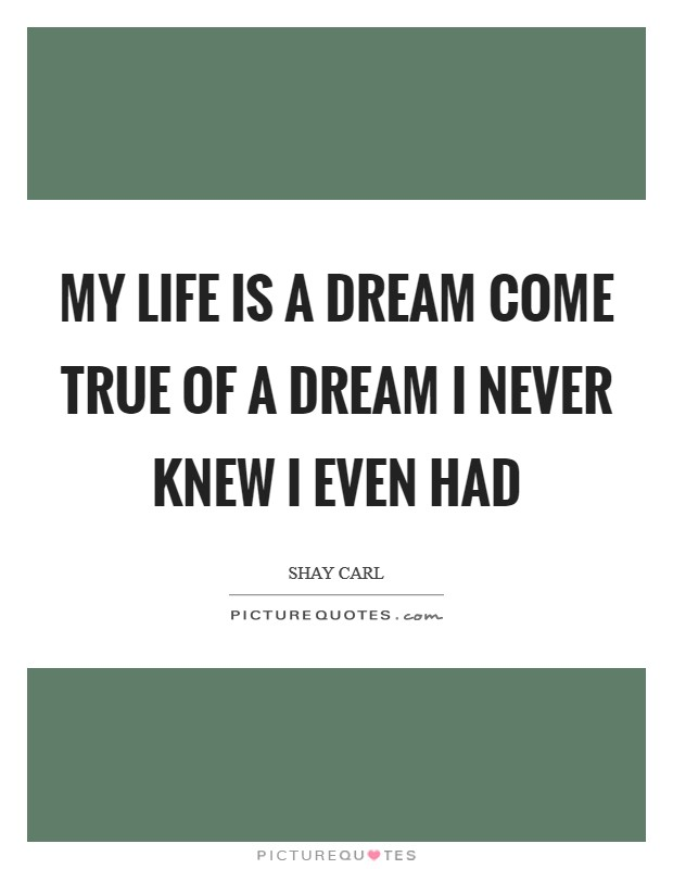 My life is a dream come true of a dream I never knew I even had Picture Quote #1