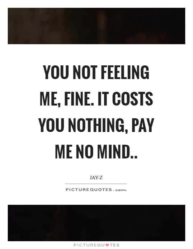 You not feeling me, fine. It costs you nothing, pay me no mind Picture Quote #1