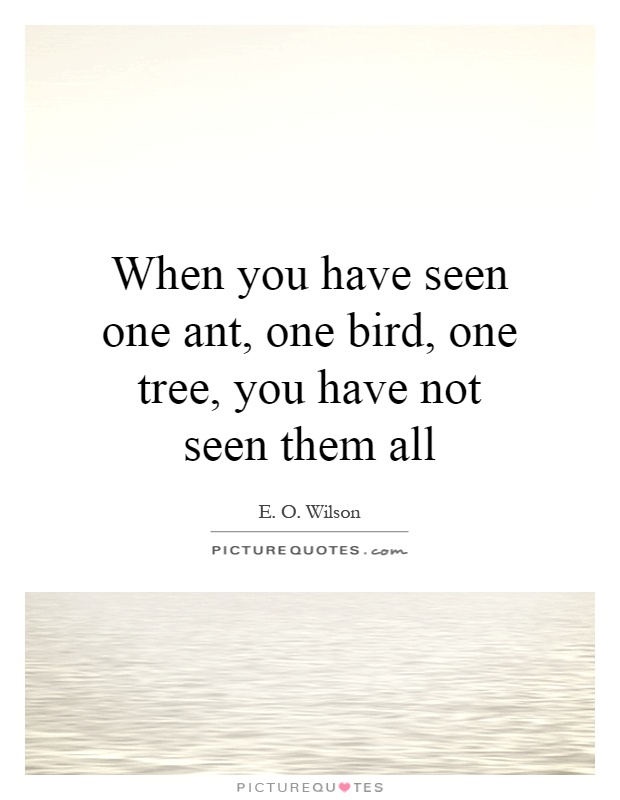 When you have seen one ant, one bird, one tree, you have not seen them all Picture Quote #1