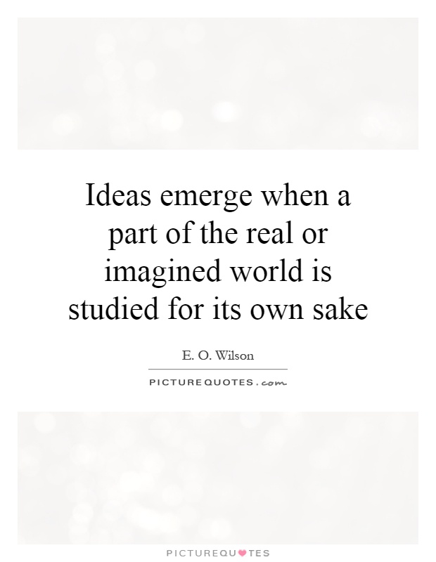 Ideas emerge when a part of the real or imagined world is studied for its own sake Picture Quote #1
