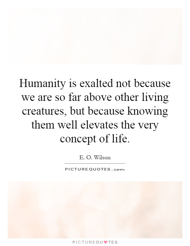 Humanity is exalted not because we are so far above other living creatures, but because knowing them well elevates the very concept of life Picture Quote #1
