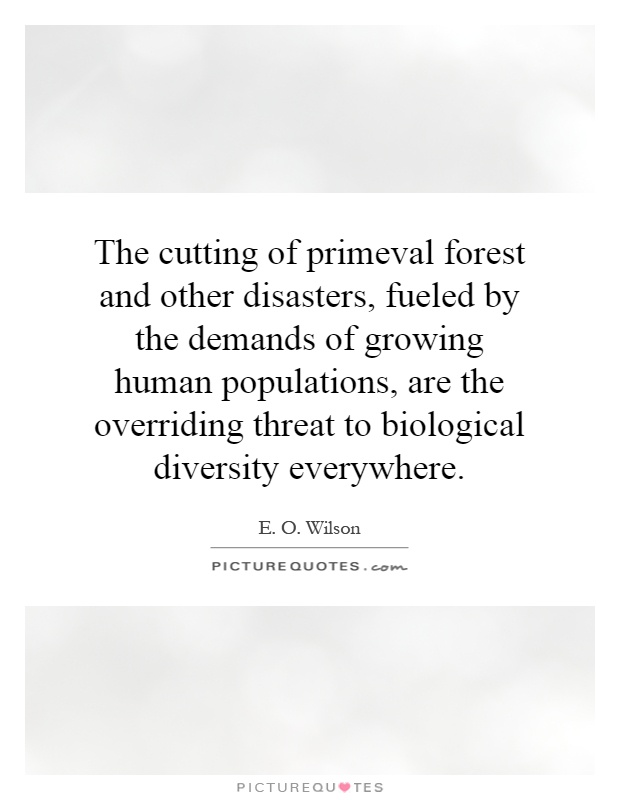 The cutting of primeval forest and other disasters, fueled by the demands of growing human populations, are the overriding threat to biological diversity everywhere Picture Quote #1
