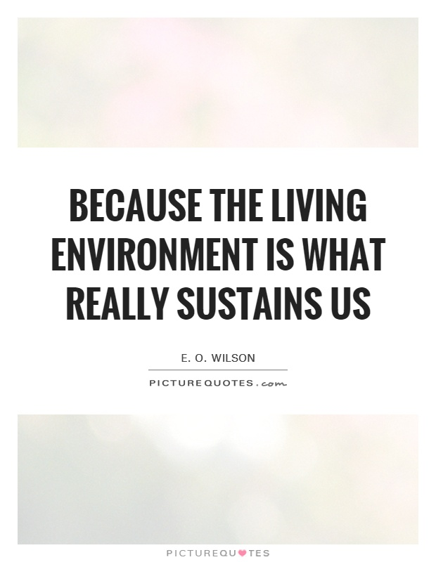 Because the living environment is what really sustains us Picture Quote #1
