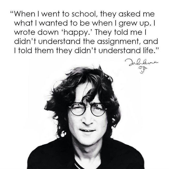 When I went to school, they asked me what I wanted to be when I grew up. I wrote down happy Picture Quote #1
