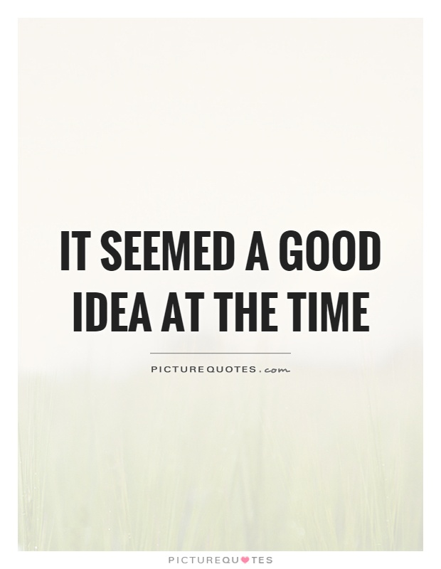 It seemed a good idea at the time Picture Quote #1