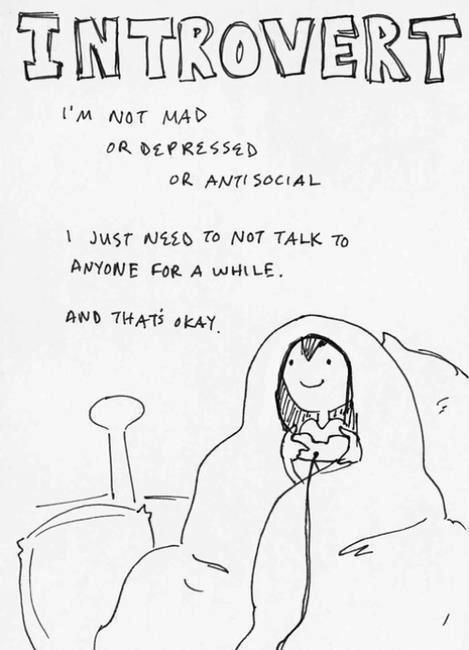 Introvert. I'm not mad or depressed or antisocial. I just need to not talk to anyone for a while. And that's okay Picture Quote #1