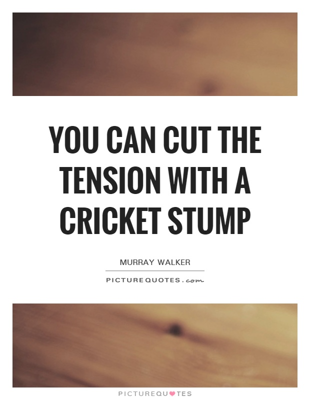 You can cut the tension with a cricket stump Picture Quote #1