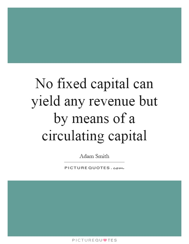 No fixed capital can yield any revenue but by means of a circulating capital Picture Quote #1