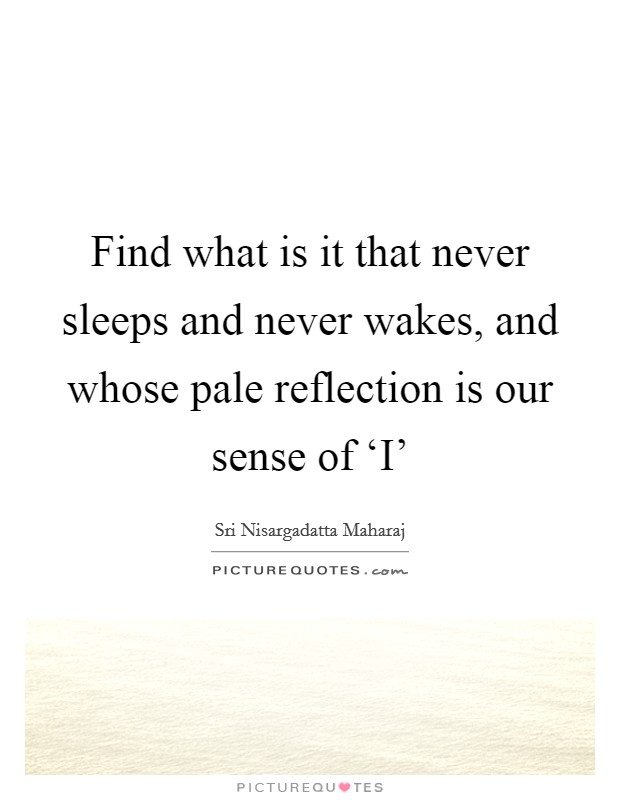 Find what is it that never sleeps and never wakes, and whose pale reflection is our sense of 'I' Picture Quote #1