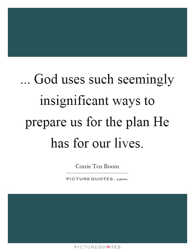 ... God uses such seemingly insignificant ways to prepare us for the plan He has for our lives Picture Quote #1