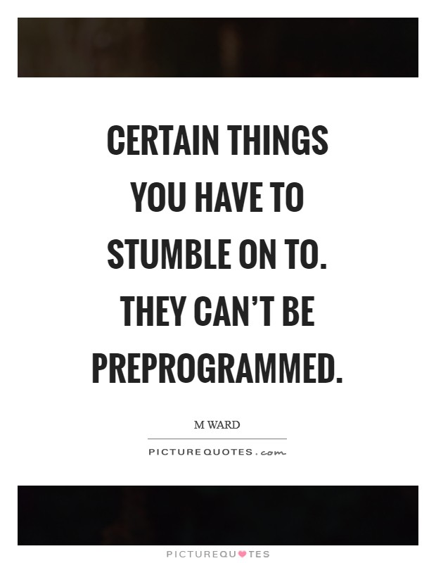 Certain things you have to stumble on to. They can't be preprogrammed Picture Quote #1