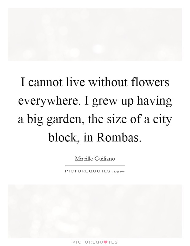 I cannot live without flowers everywhere. I grew up having a big garden, the size of a city block, in Rombas Picture Quote #1