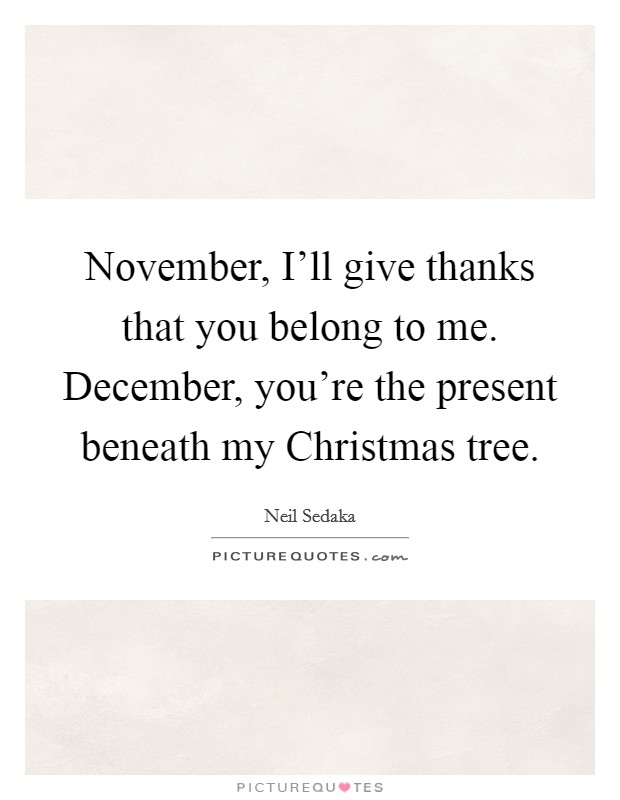 November, I'll give thanks that you belong to me. December, you're the present beneath my Christmas tree Picture Quote #1