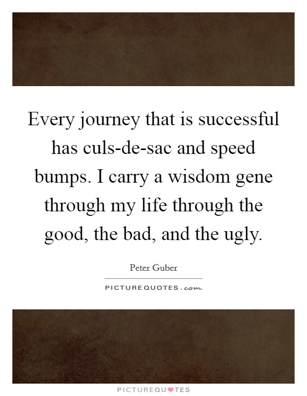 Every journey that is successful has culs-de-sac and speed bumps. I carry a wisdom gene through my life through the good, the bad, and the ugly Picture Quote #1