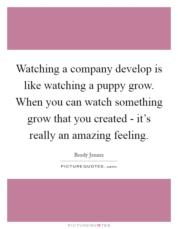 Watching a company develop is like watching a puppy grow. When you can watch something grow that you created - it's really an amazing feeling Picture Quote #1