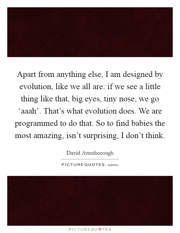 Apart from anything else, I am designed by evolution, like we all are: if we see a little thing like that, big eyes, tiny nose, we go 'aaah'. That's what evolution does. We are programmed to do that. So to find babies the most amazing, isn't surprising, I don't think Picture Quote #1