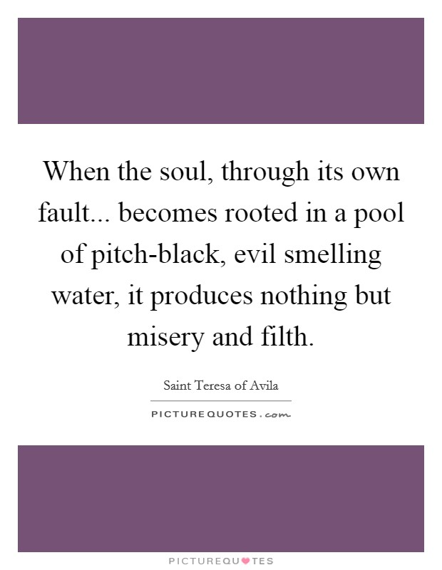 When the soul, through its own fault... becomes rooted in a pool of pitch-black, evil smelling water, it produces nothing but misery and filth Picture Quote #1