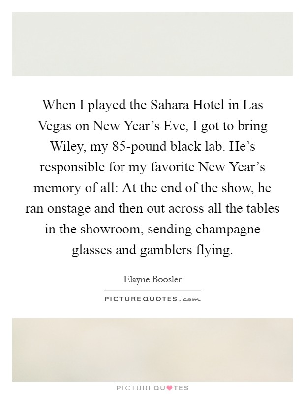 When I played the Sahara Hotel in Las Vegas on New Year's Eve, I got to bring Wiley, my 85-pound black lab. He's responsible for my favorite New Year's memory of all: At the end of the show, he ran onstage and then out across all the tables in the showroom, sending champagne glasses and gamblers flying Picture Quote #1