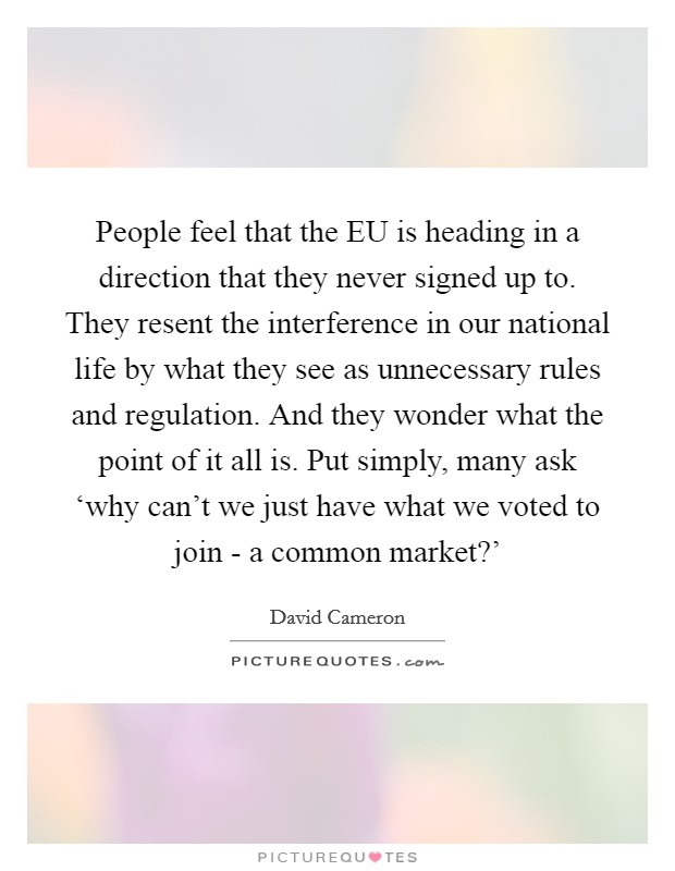 People feel that the EU is heading in a direction that they never signed up to. They resent the interference in our national life by what they see as unnecessary rules and regulation. And they wonder what the point of it all is. Put simply, many ask 'why can't we just have what we voted to join - a common market?' Picture Quote #1