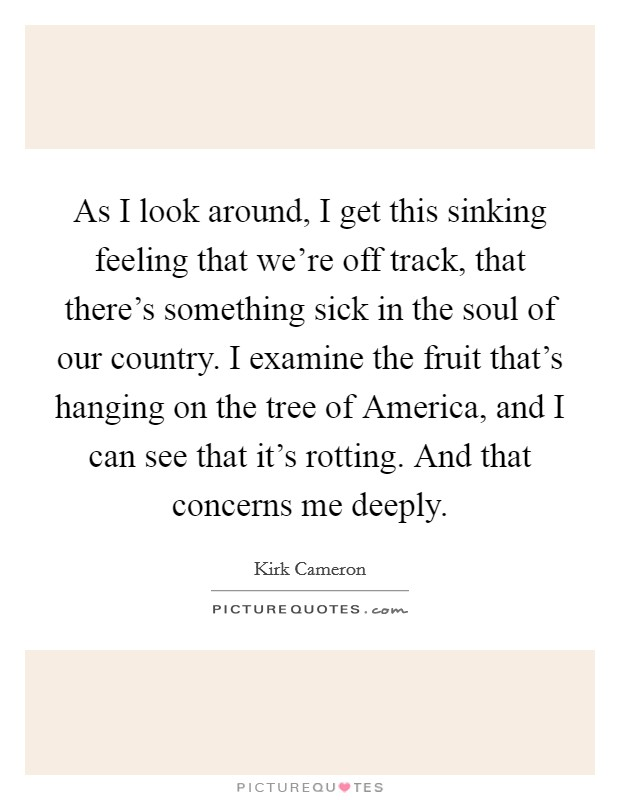 As I look around, I get this sinking feeling that we're off track, that there's something sick in the soul of our country. I examine the fruit that's hanging on the tree of America, and I can see that it's rotting. And that concerns me deeply Picture Quote #1