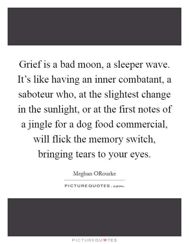 Grief is a bad moon, a sleeper wave. It's like having an inner combatant, a saboteur who, at the slightest change in the sunlight, or at the first notes of a jingle for a dog food commercial, will flick the memory switch, bringing tears to your eyes Picture Quote #1