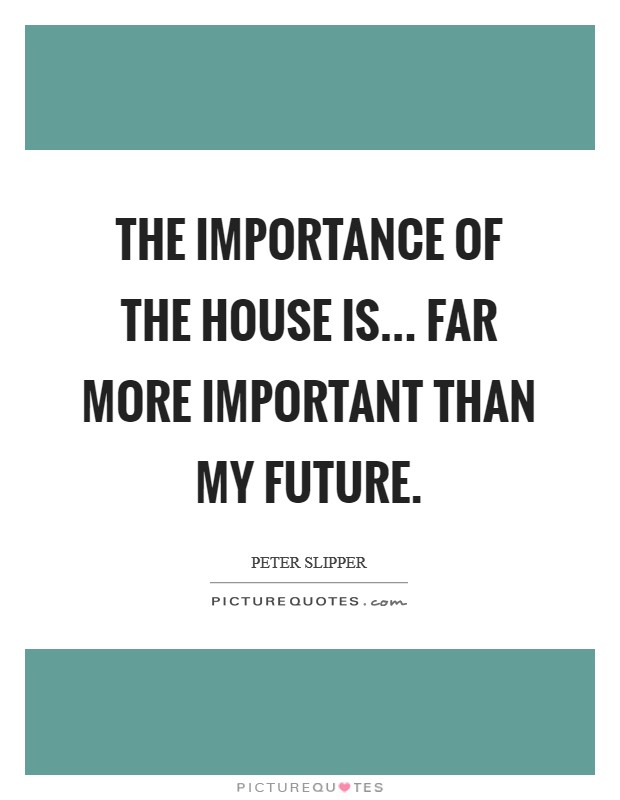 The importance of the House is... far more important than my future Picture Quote #1