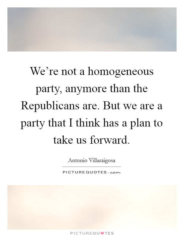 We're not a homogeneous party, anymore than the Republicans are. But we are a party that I think has a plan to take us forward Picture Quote #1