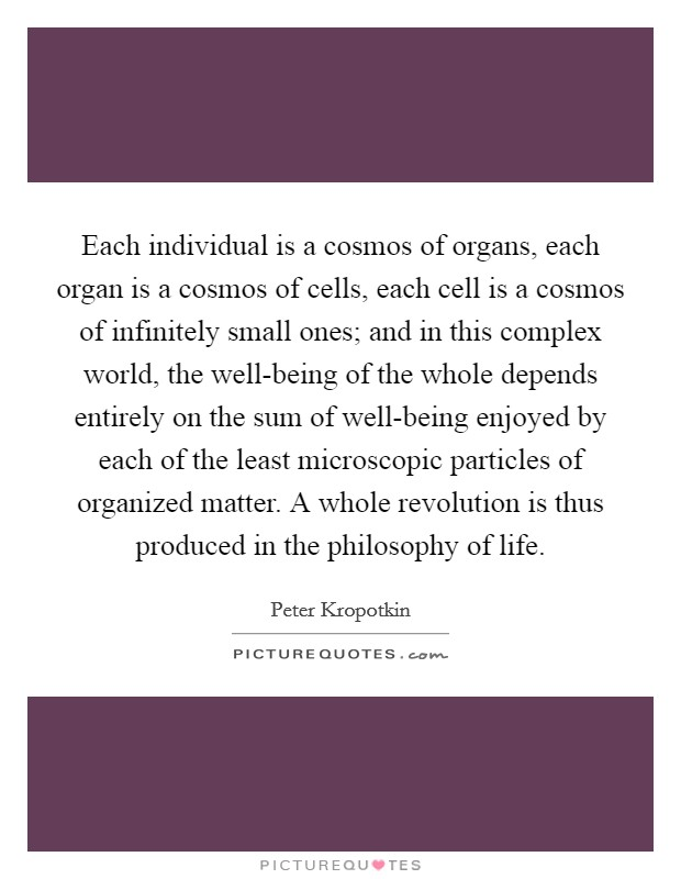 Each individual is a cosmos of organs, each organ is a cosmos of cells, each cell is a cosmos of infinitely small ones; and in this complex world, the well-being of the whole depends entirely on the sum of well-being enjoyed by each of the least microscopic particles of organized matter. A whole revolution is thus produced in the philosophy of life Picture Quote #1