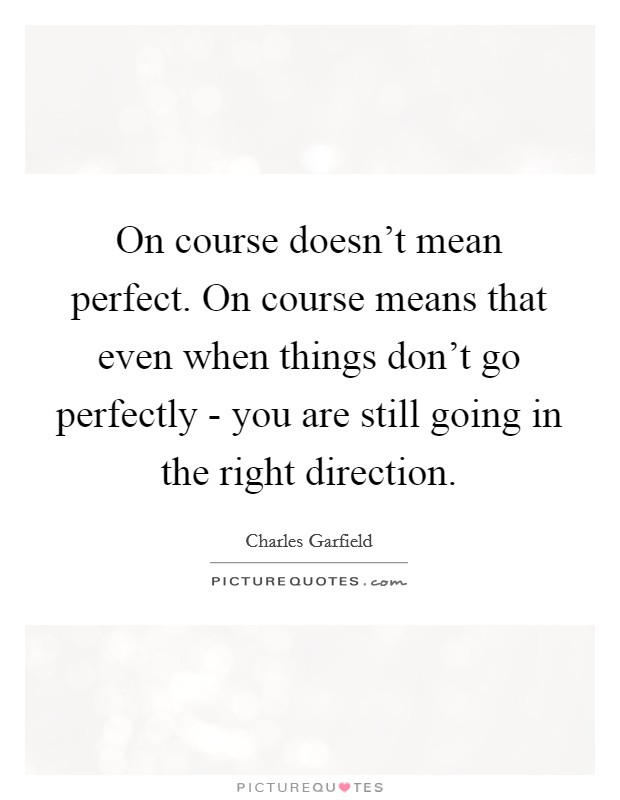 On course doesn't mean perfect. On course means that even when things don't go perfectly - you are still going in the right direction Picture Quote #1