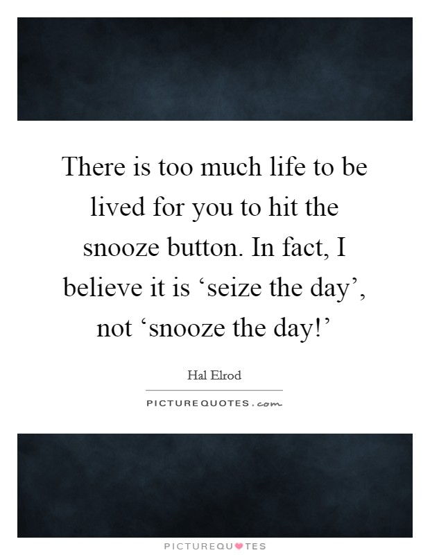 There is too much life to be lived for you to hit the snooze button. In fact, I believe it is 'seize the day', not 'snooze the day!' Picture Quote #1