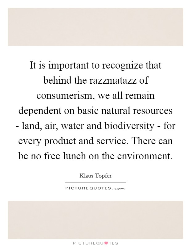 It is important to recognize that behind the razzmatazz of consumerism, we all remain dependent on basic natural resources - land, air, water and biodiversity - for every product and service. There can be no free lunch on the environment Picture Quote #1