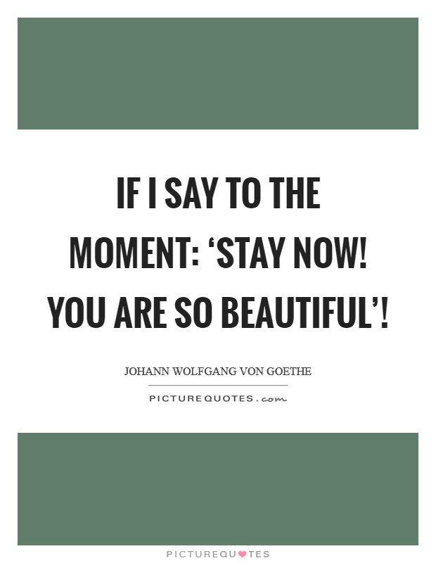 If I say to the moment: 'Stay now! You are so beautiful'! Picture Quote #1