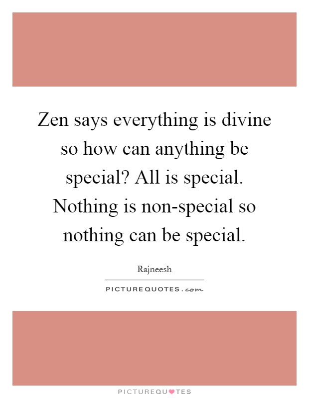 Zen says everything is divine so how can anything be special? All is special. Nothing is non-special so nothing can be special Picture Quote #1