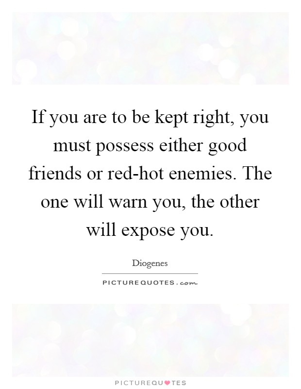 If you are to be kept right, you must possess either good friends or red-hot enemies. The one will warn you, the other will expose you Picture Quote #1