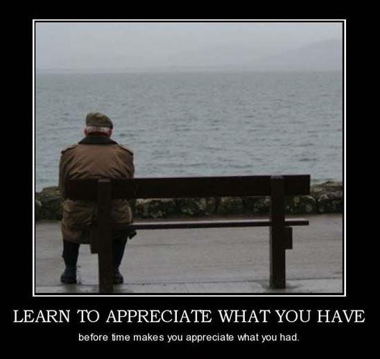 Learn to appreciate what you have, before time makes you appreciate what you had Picture Quote #2