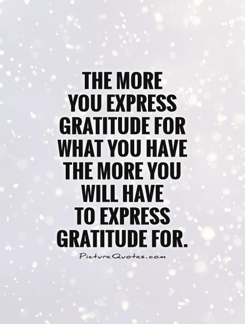 The more  you express gratitude for what you have the more you will have  to express gratitude for Picture Quote #1