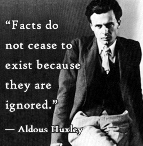Facts do not cease to exist because they are ignored Picture Quote #1