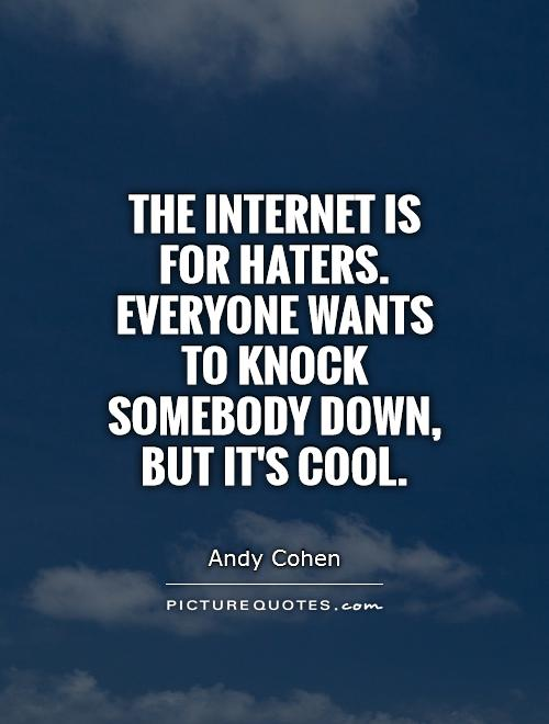 The Internet is for haters. Everyone wants to knock somebody down, but it's cool Picture Quote #1