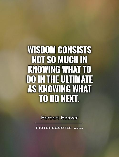 Wisdom consists not so much in knowing what to do in the ultimate as knowing what to do next Picture Quote #1